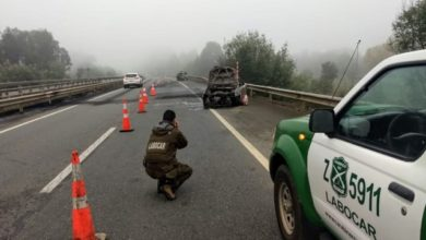 Photo of 4 vehículos quemados deja millonario robo en peaje troncal de Lanco